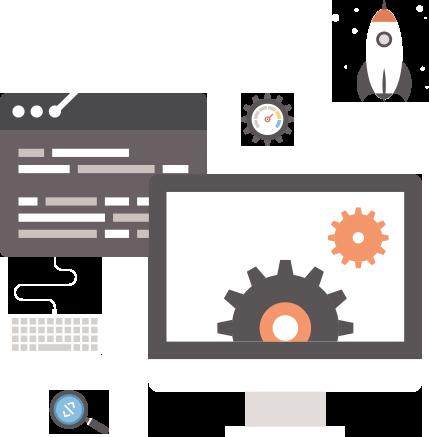 website tools op laptop, data, raket, vergrootglas